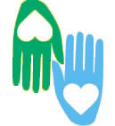 Caring hands icon with heart in the middle.